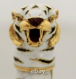 Gucci Vintage White- Black & Red Enamel Tiger 18K Yellow Gold Perfume Dispenser