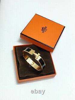 HERMES 18K Gold Enamel Bracelet Classic Clic Clac H Bangle Black PM New