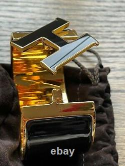 HERMES CLIC CLAC XL Bracelet GOLD AND BLACK ENAMEL H LIMITED EDITION WOW