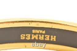 HERMES Gold Plated / Black Enamel Emaiyu Bracelet F02321
