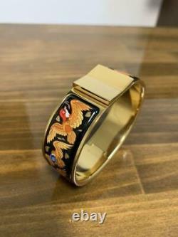 HERMES Vintage Enamel Cloisonne Sparrow Bracelet Bangle Black / Gold