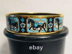 HERMES Wide Gold Plated Black, Turquoise Enamel Equestrian Bangle Bracelet
