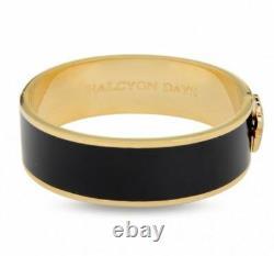Halcyon Days, Leopard Head Black Enamel & Gold Plate Bracelet, New Pouch + Box