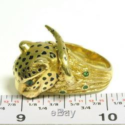 Handmade 18k Yellow Gold Black Enamel Emerald Panther Cheetah Estate Ring