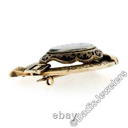 Handmade Antique Victorian 10K Gold Black Enamel Engraved Mourning Brooch Pin