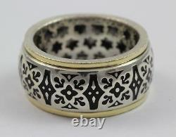 Handmade Sterling Silver and 14k Solid Yellow Gold Black Enamel Spinner Ring