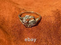 Harley-Davidson Motorcycles Ladies Black Hills Gold 10K Ring Rose Enamel Size 7