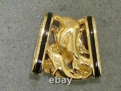 Hawaii 14k Solid Gold Black Enamel Passion Flower & Dolphin Floater Pendant