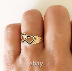 Hawaiian Heirloom Jewelry 14 Karat Gold Double Heart Black Enamel Ring
