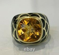 Heavy 14k solid gold with Black Enamel & 4.8ct Citrine ring 13.65g size P 7 1/2
