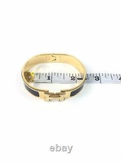 Hermes Authentic H Logo Gold & Black Bracelet 12mm Buckle Bangle Bracelet