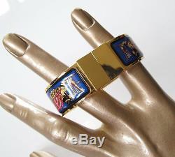 Hermes Blue Enamel/Gold Ramses Pharaon Clic Clac Bracelet Sz S