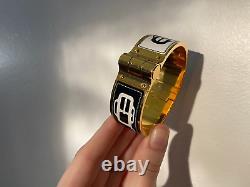Hermes Charniere Hinged Enamel Positif Negatif Black and White Gold Bracelet