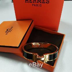 Hermes Classic Black Enamel Clic Clac H Gold Bracelet Size PM