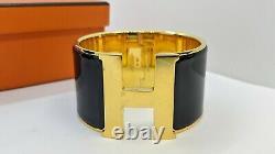 Hermes Clic Clac H Black Enamel Extra Wide Gold Plated Bracelet 55mm