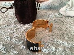 Hermes Clic Clac H Black Enamel Extra Wide Gold Plated Bracelet 55mm size PM