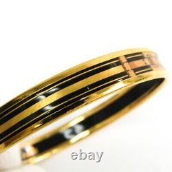Hermes Emmaille Belt Cloisonné/enamel Bangle Black, Gold BF511587