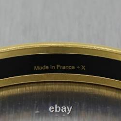 Hermes Gold Plated Grand Apparat Black Enamel Bangle Bracelet
