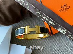 Hermes H Clic Clac Bracelet GHW GOLD BLACK Enamel PM Narrow Bangle