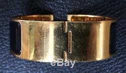 Hermes Wide Clic Clac H Bracelet With Black H