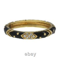Hidalgo 18k Yellow Gold Black Enamel Diamond Stackable Band Ring Size 6.5