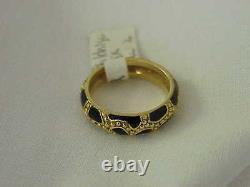 Hidalgo 18k Yellow Gold Black Enamel Vintage 5 MM Wide Ring Sz 6 1/2 Stack Ring