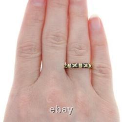 Hidalgo Black Enamel X Band Yellow Gold 18k Stackable Ring