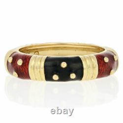 Hidalgo Patterned Stacking Ring 18k Gold Red & Black Enamel Band 7 1/4 7 1/2