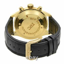 IWC Pilot's Doppel Chronograph 18K Gold White Enamel Dial Mens Watch IW3711-11