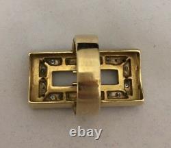 Italian Estate Jewelry Ring 18k Gold 18 Diamonds Black Enamel Rectangular 21.2 G