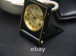 Jaeger LeCoultre Handwind Desk Alarm Clock Black Enamel Gold Plated Pristine