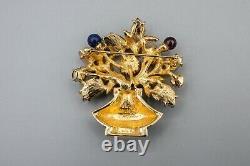 Judith Leiber Flower Urn Basket Brooch Pin Vintage Black Green Crystal Gold Tone