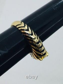Judith Leiber Vintage 18k Yellow Gold Figural Zebra Black Enamel Ring Size 6.5