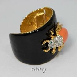 KJL Kenneth Jay Lane Black Enamel Crystal and Resin Scarab Cuff Bracelet in Gold