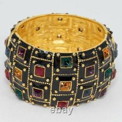 KJL Kenneth Jay Lane Jeweled Deco Bangle Bracelet, Black Enamel, Crystals, Gold