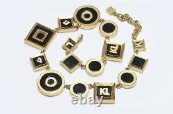Karl Lagerfeld Paris Gold Plated Black Enamel Logo Fan Geometric Collar Necklace