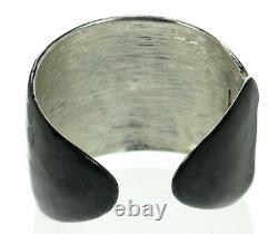 Kenneth J Lane KJL Black Enamel Art Deco Style Cuff Bracelet