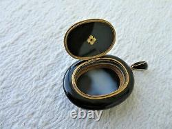 LGE VICTORIAN GOLD BLACK ENAMEL & SEED PEARL MOURNING PENDANT / LOCKET 24.68gs