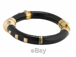 Ladies La Nouvelle Bague 18K Yellow Gold Black Enamel Spiked Bangle Bracelet