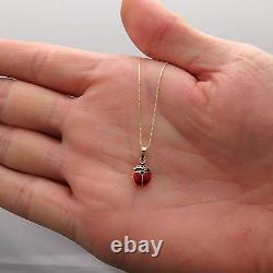 Ladybug Pendant 14K Yellow Gold Red Black Enamel Charm 16 Box Chain Necklace