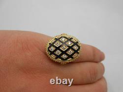 Large Antique Estate 14k Solid Yellow Gold Black Enamel & Diamond Ring Size 6.5