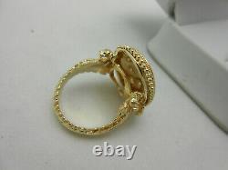 Large Heavy Estate 14k Solid Yellow Gold Black Enamel & Diamond Ring Size 6.5