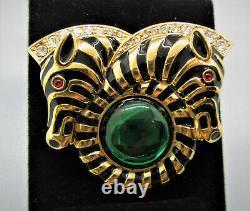 Ltd Ed. Trifari Black Enamel Emerald Green Cabochon Gold Plate Zebra Brooch Tf8
