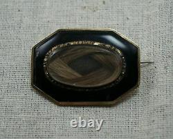 MOURNING HAIR LOCKET BROOCH / PIN 14K Yellow Gold Black Enamel