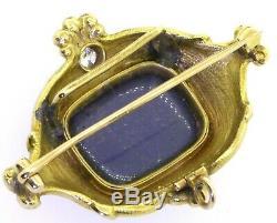 Marcus & Co. Art Nouveau 18K gold VS diamond/16 X 13mm Black opal enamel brooch