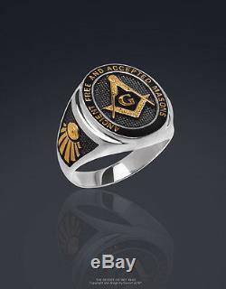 Masonic Ring Freemason AF & AM Silver 925 Black Enamel, 24K-Gold-Plated Parts