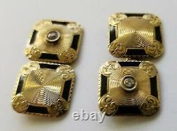 Men's Antique Victorian Edwardian 14K Gold Diamond Black Enamel Cufflinks