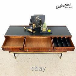 Mid Century Heals Sideboard Vintage Cocktail Drinks Cabinet Black Gold Rosewood