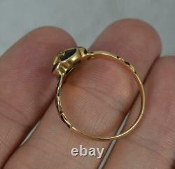 Mid Victorian 15ct Gold Black Enamel and Diamond Mourning Ring