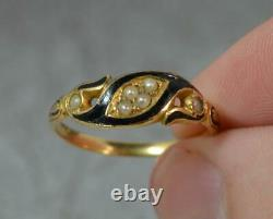 Mid Victorian 18ct Gold Black Enamel & Pearl Mourning Band Ring d0265